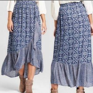 Knox Rose XXL Blue Boho Wrap Skirt